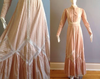 Vintage 40s Edwardian Lace Cotton Wedding Dress ~Hand Made French Victorian Summer Gown ~Full Sweep Maxi Skirt ~Voile Broderie