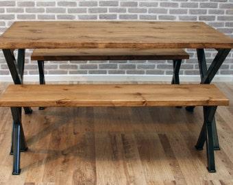Brinkley X Rustic Industrial Reclaimed Wood Dining Table Metal X frame Various Size UK made Brown