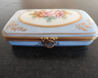 Antique Sevres French blue color with Gold gilt  porcelain Jewellery Box/signed Mansard Paris