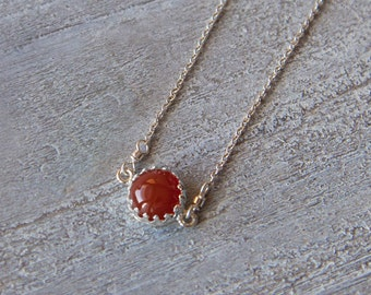 Carnelian Pendant, Sterling Silver Carnelian Necklace, Red Gemstone Necklace, Silver Carnelian Necklace, Sterling Silver Carnelian Jewelry