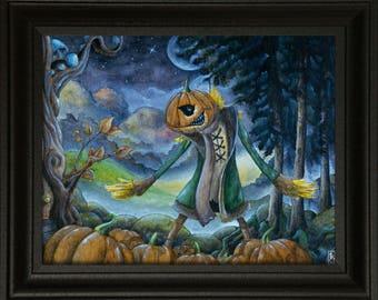 Jack O Lantern Awakening (8x10), Pumpkin art, Artwork, Halloween, Scarecrow, Watercolor, Nature, Fairytale art print, Fantasy art, Spooky