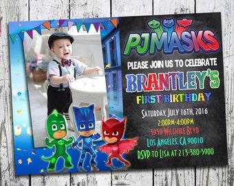 PJ Masks Invitation, PJ Masks Birthday Party, PJ Masks Birthday Invitation, Pj Masks Invite, Pj masks