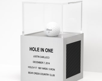 Golf Ball Display Case - Hole In One Display Case Trophy for Golf Ball - Hole-in-one Golf Gift