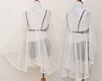 white half moon cape, white polka dot cape, half moon kimono, sheer cardigan, lady dress cover up, classy sheer cape, white kimono