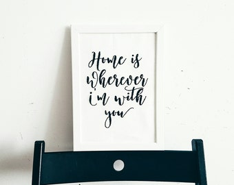 Home is wherever I'm with you Hand embroidered poster Wall art Black and White Home decor Wall Hangings Hand Embroidery Inspirational Quote