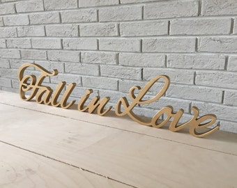 Script letters table sign FALL IN LOVE for wedding table - Fall in Love letters, glitter, wooden letters wall sign, table sign, wedding sign