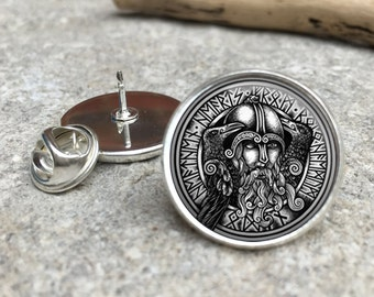 Odin Viking Glass Dome Round Cabochon Lapel Tie Pin Badge Gift UK