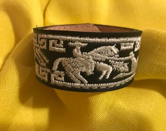 Rodeo Inspired Upcycled Leather Cuff Bracelet