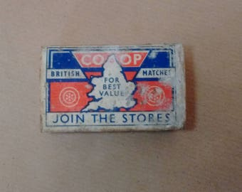 MATCHBOX - Co-op matchbox - vintage matchbox - British matches - collectible - 1950s - branding - packaging - Rationed - gift - retro