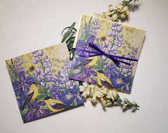 Birds and purple flowers. Set of 6 blank cards. Handmade