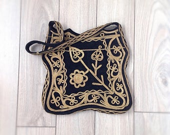 Vintage bohemian black velvet purse with gold applique