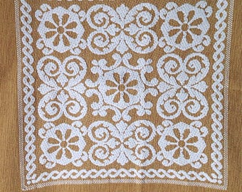 Vintage goldenrod tablecloth with cream embroidery