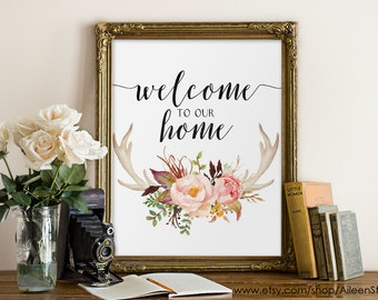 Wlcome to our home,Welcome printable, Welcome sign, Welcome print,Welcome wall art,Welcome home,Watercolor print,Entryway Decor,#WA005