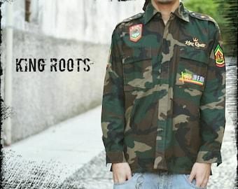 """Rasta shirt"" Camicia militare camouflage reggae Lion of Judah - Jah Army"