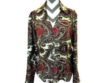 Vintage 100% Silk Talbot's Paisley Print Blouse