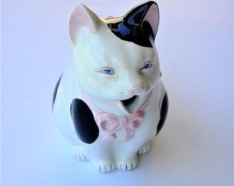 Vintage TAKASHASHU San Fransico Hand Painted Cat Teapot