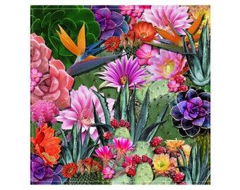 Desert Succulents & Birds of Paradise Fabric Napkins