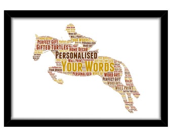 PERSONALISED Jumping Horse & Rider Word Art Print Gift Idea Birthday Equestrian Pony Dressage Show Winner For Him Her Mum Dad Sister PG0585