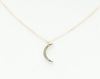 FOR MEG: Champagne Diamond Crescent Moon Necklace + Star Pendant