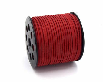 Suede cord 3mm red batch of 2/5/8/10 m