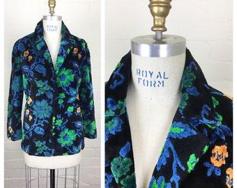 1960's floral chenille tapestry coat / vintage / medium / 60's / carpet coat