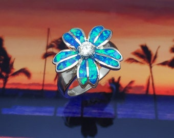 Sterling Silver Hawaiian Blue Opal Plumeria Ring with CZ (R547)