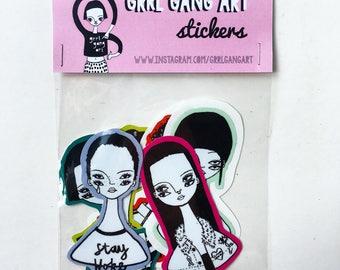 Vinyl sticker set Illustrated girl gang