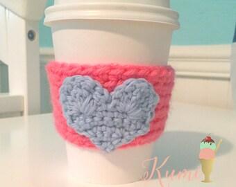 Pink Heart Coffee Cozy - Coffee Sleeve - Crochet Handmade to Order