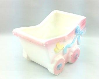 Vintage Baby Buggy Baby Nursery Planter, Giftwares Co., Nancy Pew, New Original Stock (NOS)