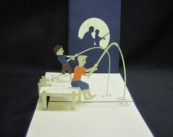 3-D Father & Son Fishing Pop-Up Card