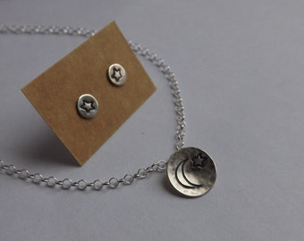 10mm Solid silver circle stamped with Moon and star on necklace