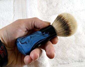 Shaving- Brush/shaving-brushes/ razor/ straight-razor/ shaving- soap/shaving mug/hand-made/stunning blue infused pattern/  first time shaver