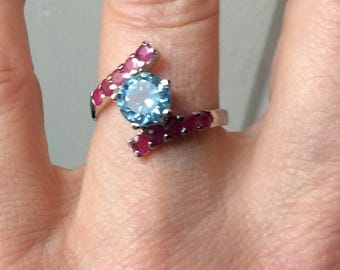 VINTAGE Blue TOPAZ RUBY Ring - Vermeil White Gold & Sterling silver - stones - Very Elegant Ring Genuine