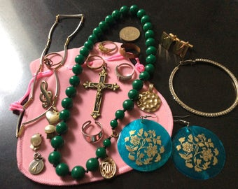 VINTAGE JEWELRY LOT - Vintage, Modernist bracelet - Rings, Brooch - Antik from France