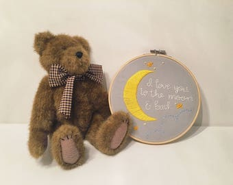 "Nursery hoop ""I love you to the moon and back."""