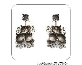 Vintage hanging earring base antique silver, 1 pair
