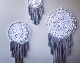 ON SALE 20% 0FF! Gorgeous White and Grey Dream Catcher. 3 sizes.