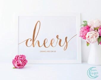 Printable Cheers Sign / Bar Wedding Signs / Handwritten Sign / Wedding Cheers Sign / Rose Gold Sign / Carrie Suite