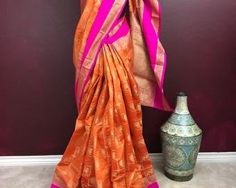Tall Raw Pattu Silk Handloom Saree