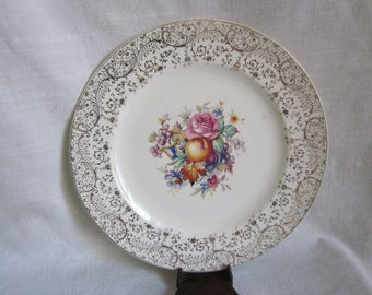 Vintage Plate Fruit Flowers and Gold Scroll Edges