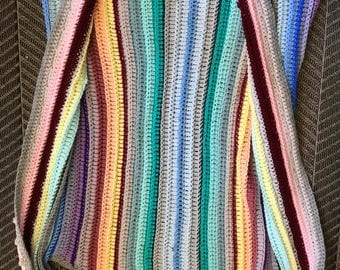 """1 of 1 """"JIMI HENDRIX"""" Band of Gypsy's 70s Rainbow Woven Extended 3/4 Length Vest"""