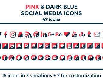 Pink Blue Social Media Icons Buttons Website Icons Blog Icons Social Media Icons Graphics Twitter
