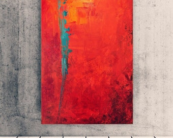 Burning ice - Abstract painting - Red painting - Red art - Gift - Wall decor