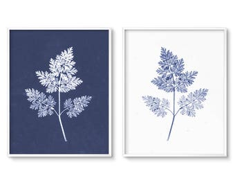 Modern, Botanical Print, Fern Art, Fern Prints, Botanical Art, Most Popular Item, Diptych, Cyanotype, Instant Download, Printable Art, Art