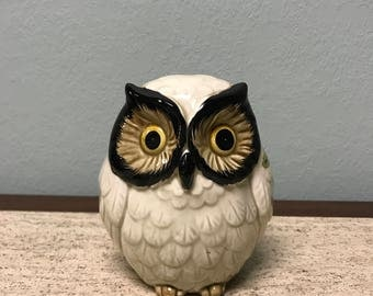 Vintage Hand-painted Ceramic Owl Coin Bank - Japan
