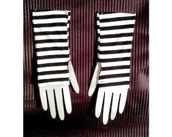 Striped Wristwarmer / Armwarmer - Black & White