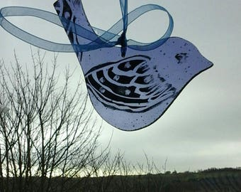 Bird handpainted on glass