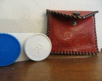Tooled Leather Pouch with contact lens holder hand made w/ free ship