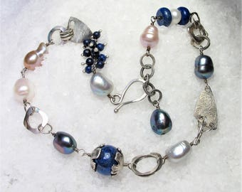 Silver necklace lapis blue and pearls, rustic style, oxidized silver.