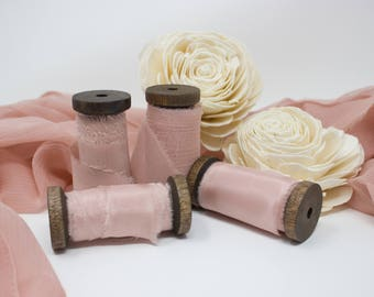 Blush Hand Dyed Styling Kit ~ Silk Ribbon ~ Table Runner ~ Photography Props ~ Wedding Decor ~ Cloth for Photos ~ Table Decor ~ Chiffon